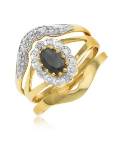 9ct Yellow Gold Dia And Sapphire Set Of Three Pieces Ring