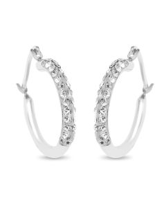 Sterling Silver And Crystal 15mm Hoop Earrings