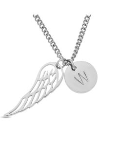 Stainless Steel Silver Plated Angel Wing And Personalised One Initial Disc Necklace