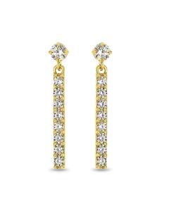 9ct Gold Long Cubic Zirconia Stud Earrings