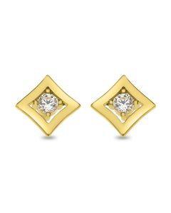 9ct Gold Square Cubic Zirconia Earrings