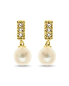 9ct Gold Fresh Water Pearl Cubic Zirconia Earrings