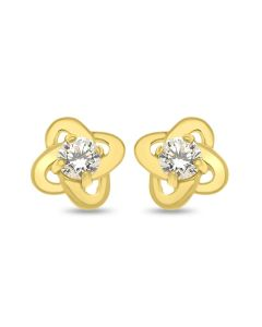 9ct Gold Earrings with Cubic Zirconia in the Centre