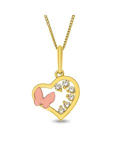 "9ct Gold Open Heart Cubic Zirconia Pendant with a Butterfly on 18"" Curb Chain"