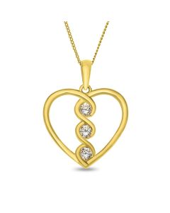 "9ct Gold Open Cubic Zirconia Heart Pendant on 18"" Curb Chain"