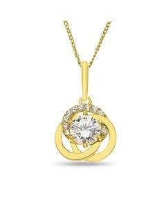 "9ct Gold Three Cirles Cubic Zirconia Pendant on 18"" Curb Chain"