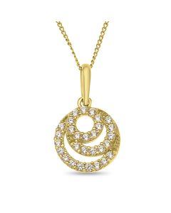 "9ct Gold Open Cubic Zirconia Round Pendant on 18"" Curb Chain"