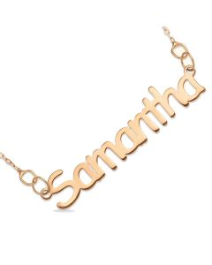 "9ct Rose Gold Name Plate Necklace On 16"" Trace Chain"