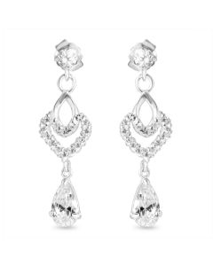 9ct White Gold Cubic Zirconia Set Fancy Drop Earrings