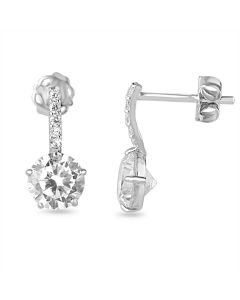 9ct White Gold Cubic Zirconia Set Solitaire Drop Earrings