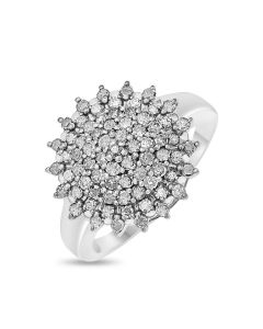 9ct White Gold 1CT Diamond Set Fancy Cluster Ring