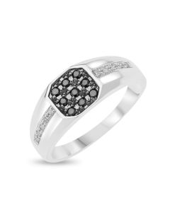 9CT White Gold Black And White Diamonds Set Gent's Ring