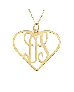 "9ct Yellow Gold Two Initial Monogram In Heart Pendant on 18"" Curb Chain"