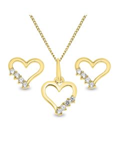 "9ct Gold Cubic Zirconia Heart Stud Earrings And Pendant On 18"" Trace Chain"