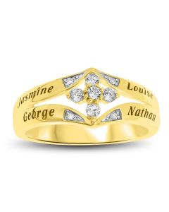 9ct Yellow Gold Personalised 4 Names, Cross Topaz And Dia Set Family Ring
