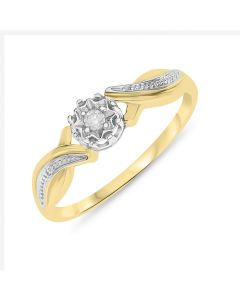 9ct  Gold Dress Ring With Diamond Accents
