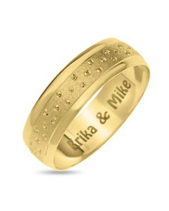 9CT Yellow Gold Personalised Gent's 6MM Bubble Wedding Band Ring