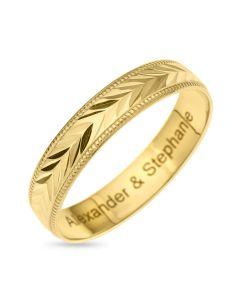 9CT Gold Diamond Cut 4MM Wedding Ring