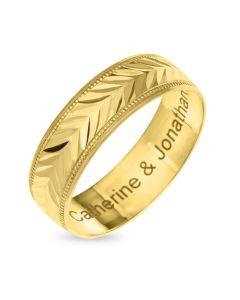 9CT Gold Diamond Cut 6MM Wedding Ring