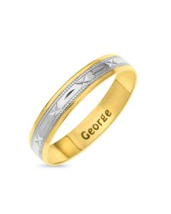 9ct Gold 4MM Two Tone D/C Sealed With Kiss Pattern Rhodium Plated Engraved Inside Wedding Ring