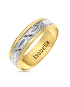 9ct Gold 6MM Two Tone D/C Sealed With Kiss Pattern Rhodium Plated Engraved Inside Wedding Ring