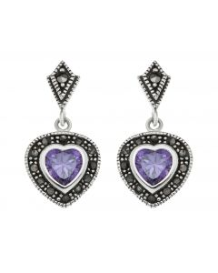 Sterling Silver Ladies' Amethyst and Heart Drop Earrings