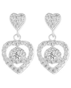 Sterling Silver Fancy Cubic Zirconia Heart Drop Earring