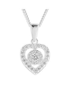 "Sterling Silver Cubic Zirconia Ornami Heart Cluster Pendant On 18"" Curb Chain"
