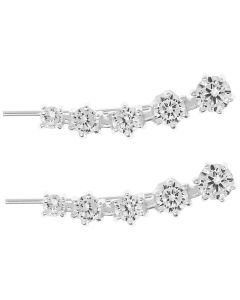 Sterling Silver CZ Set 5 Stone Claw Set Solitaire Long Earring Stud, Ear Jacket