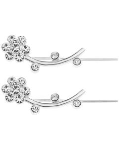 Sterling Silver CZ Set Flower Design Long Earring Stud, Ear Jacket