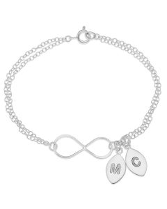 Sterling Silver Personalised Two Initial Double Trace Chain Infinity Bracelet