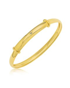 9ct Gold Diamond Set Plain Expander Baby Bangle