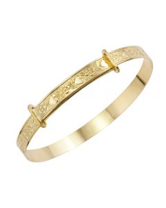 9ct Yellow Gold Childs Patterned Expander Bangle