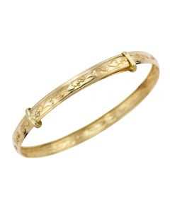 9ct Yellow Gold Hearts and Roses Child's Expander Bangle