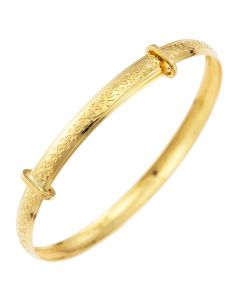 9ct Yellow Gold Embossed Celtic Expander Bangle