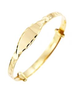 9CT Yellow Gold Personalised  Diamond Cut ID Plate Expanding Baby Bangle