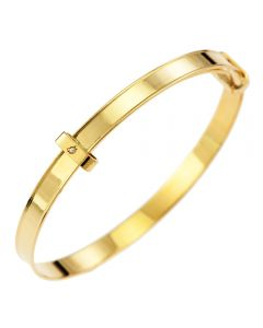 9CT Yellow Gold Raised Edge Pattern Dia Set in Slide Bangle