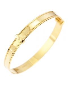 9Ct Yellow Gold Beaded Edge with Dia Set in Slide Child's Bangle