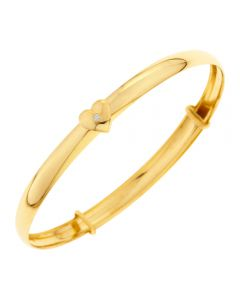 9ct Yellow Gold with Diamond Set Heart Slider Expandable Baby Bangle