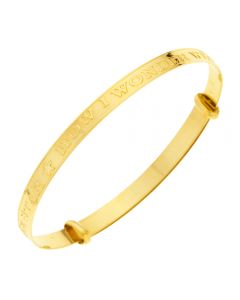 "9ct Yellow Gold Baby Twinkle Twinkle Little Star Expandable Bangle 1.75"" 0-3 Years"