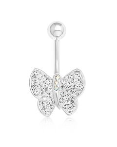 Silver Plated Crystal Butterfly Body Bar