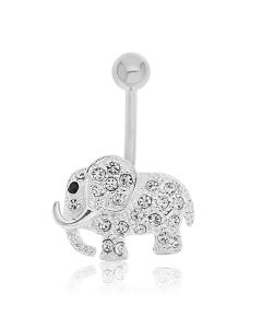 Silver Plated Stainless Steel And Brass White Crystal Set Elephant Body Bar