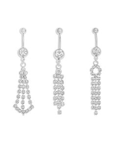 Base Metal Clear White Crystal Set Of Three Chandelier Body Bars