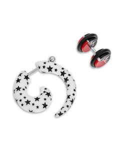 Stainless Steel Set Of  Black/White Fake Spiral Body Bar And Red/Black Plug Earring