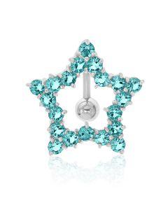 Titanium Blue Colour Stones Set Open Star Body Bar