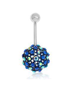 Titanium Blue Crystal Discoball Body Bar