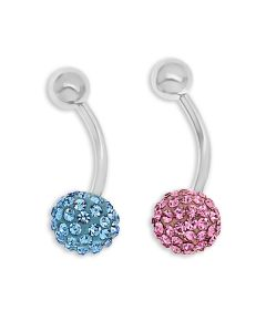 Stainless Steel Set Of Two Pink And  Blue Colour Crystal Body Bars