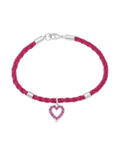 "Base Metal Pink Crystal Set Heart Charm Child's 6.5"" Bracelet"