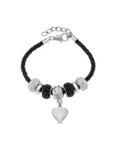 Base Metal Black Crystal Beads Plain Heart Charm Leather Bracelet