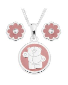 "Set Of Base Metal Pink Enamel Round Flower Stud Earrings And Teddy Bear Pendant on 16"" Curb Chain"